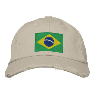 Flag of Brazil with Personalized Text Embroidered Hat