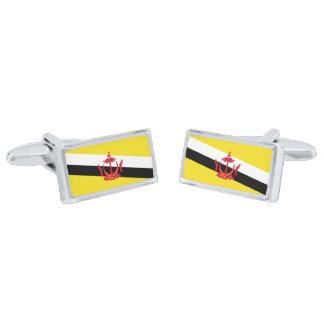 Flag of Brunei Cufflinks Silver Finish Cuff Links