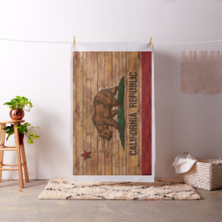 Flag of California Vintage Distressed Wood Look Fabric