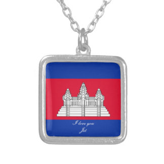Flag of Cambodia Silver Plated Necklace