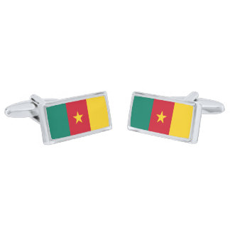 Flag of Cameroon Cufflinks Silver Finish Cufflinks
