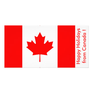 Flag of Canada, Happy Holidays from Canada Customised Photo Card