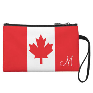 Flag of Canada Monogrammed Wristlet Purse