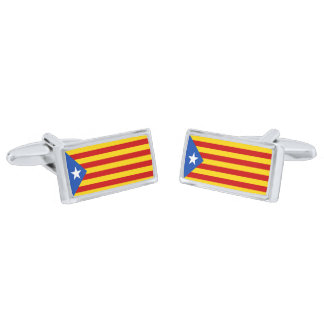 Flag of Catalan Independence Cufflinks Silver Finish Cufflinks