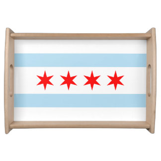 Flag of Chicago, Illinois Serving Tray