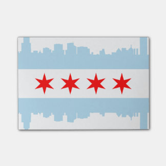 Flag of Chicago Skyline Post-it Notes