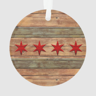 Flag of Chicago vintage wood look Ornament
