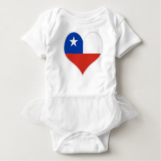 Flag of Chile heart Baby Bodysuit