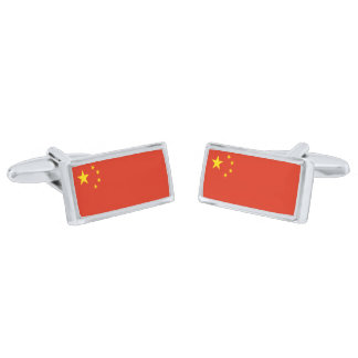 Flag of China Cufflinks Silver Finish Cuff Links