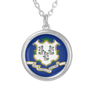 Flag Of Connecticut Silver Plated Necklace