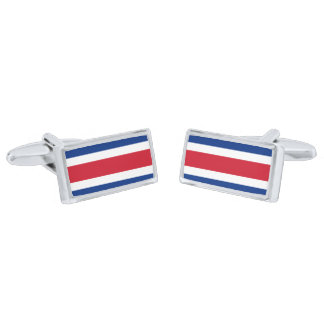 Flag of Costa Rica Cufflinks Silver Finish Cuff Links