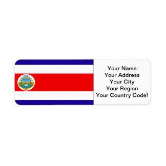 Flag of Costa Rica Return Address Label