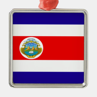 Flag of Costa Rica Silver-Colored Square Decoration