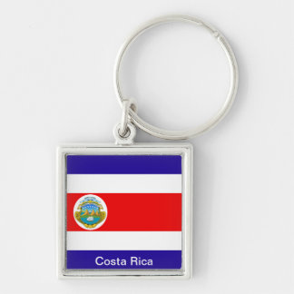 Flag of Costa Rica Silver-Colored Square Key Ring