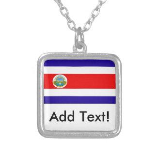 Flag of Costa Rica Square Pendant Necklace
