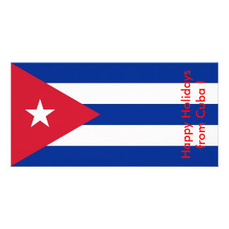 Flag of Cuba, Happy Holidays from Cuba Picture Card