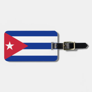 Flag of Cuba Luggage Tag w/ leather strap
