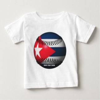 Flag of Cuba on a Baseball Baby T-Shirt