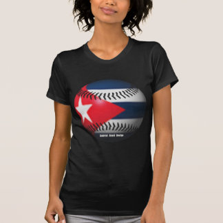 Flag of Cuba on a Baseball T-Shirt