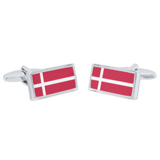 Flag of Denmark Cufflinks Silver Finish Cuff Links