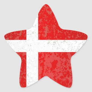 Flag of Denmark Grunge Star Sticker