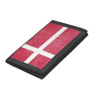 Flag of Denmark Grunge Trifold Wallets