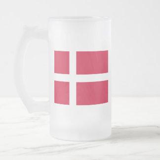 Flag of Denmark or Danish Cloth Frosted Glass Beer Mug