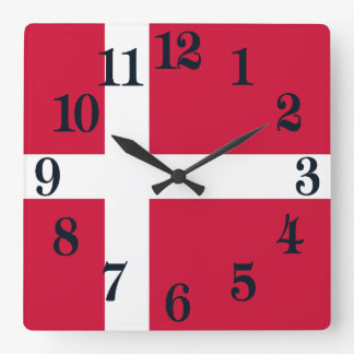 Flag of Denmark or Danish Cloth Square Wall Clock