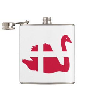 Flag of Denmark or Danish Cloth swan Hip Flask