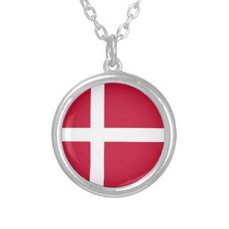 Flag of Denmark - Scandinavian cross Silver Plated Necklace