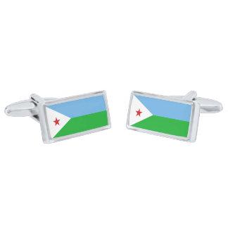 Flag of Djibouti Cufflinks Silver Finish Cuff Links