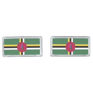 Flag of Dominica Silver Finish Cuff Links
