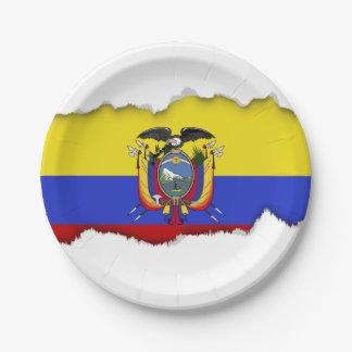 Flag of Ecuador 7 Inch Paper Plate