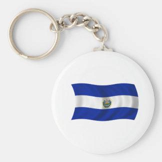 Flag of El Salvador Basic Round Button Key Ring
