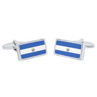 Flag of El Salvador Cufflinks Silver Finish Cufflinks