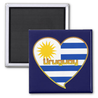 Flag of elegant URUGUAY heart and Sun of Mayo Magnet