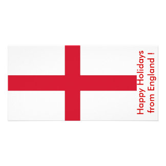 Flag of England, Happy Holidays from U.K. Customized Photo Card