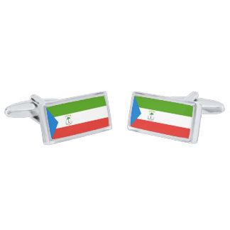 Flag of Equatorial Guinea Cufflinks Silver Finish Cuff Links
