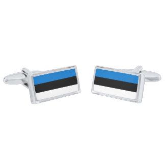 Flag of Estonia Cufflinks Silver Finish Cuff Links