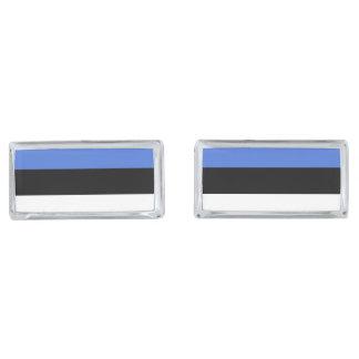 Flag of Estonia Silver Finish Cufflinks