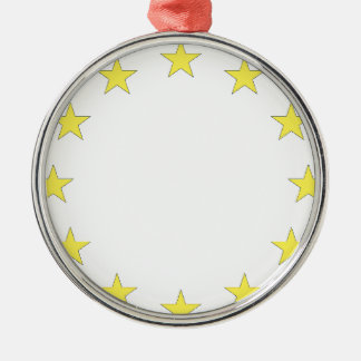 Flag of Europe - European Flag - EU European Union Silver-Colored Round Decoration