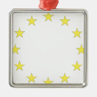 Flag of Europe - European Flag - EU European Union Silver-Colored Square Decoration