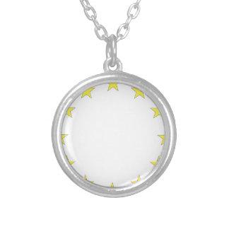 Flag of Europe - European Flag - EU European Union Silver Plated Necklace