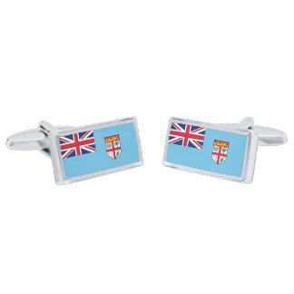 Flag of Fiji Cufflinks Silver Finish Cufflinks