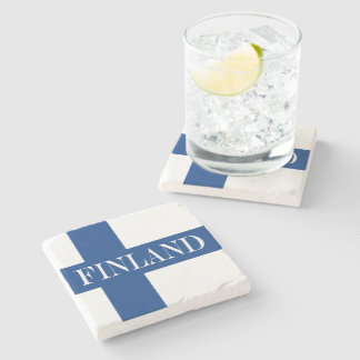 Flag of Finland Blue Cross Suomi Stone Coaster
