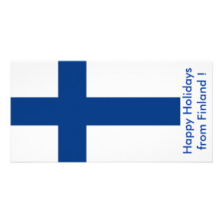 Flag of Finland, Happy Holidays from Finland Custom Photo Card