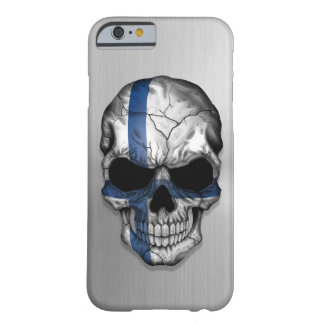 Flag of Finland on a Steel Skull Graphic Barely There iPhone 6 Case