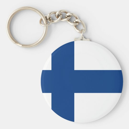 Flag of Finland (Suomen lippu, Finlands flagga) Basic Round Button Key Ring