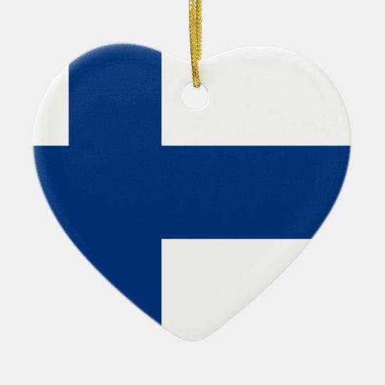 Flag of Finland (Suomen lippu, Finlands flagga) Ceramic Heart Decoration