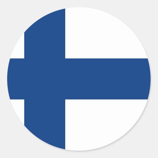 Flag of Finland (Suomen lippu, Finlands flagga) Classic Round Sticker